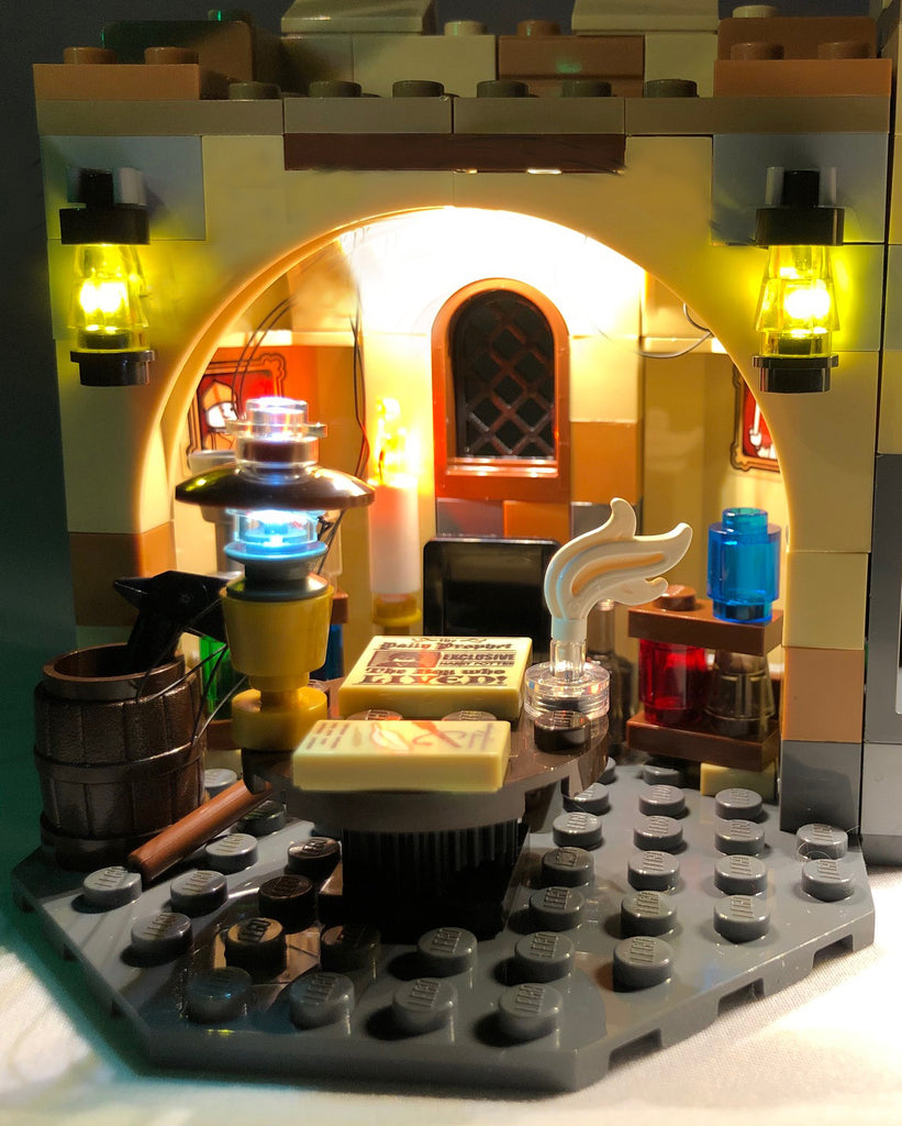 Close-up of the LEGO Harry Potter Hogwarts Whomping Willow set 75953 with the colorful Brick Loot LED Light Kit.