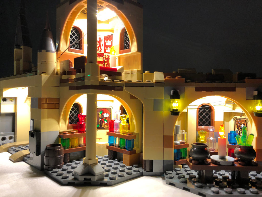 Close up of the inside of the LEGO Harry Potter Hogwarts Whomping Willow set 75953 with the colorful Brick Loot LED Light Kit installed.