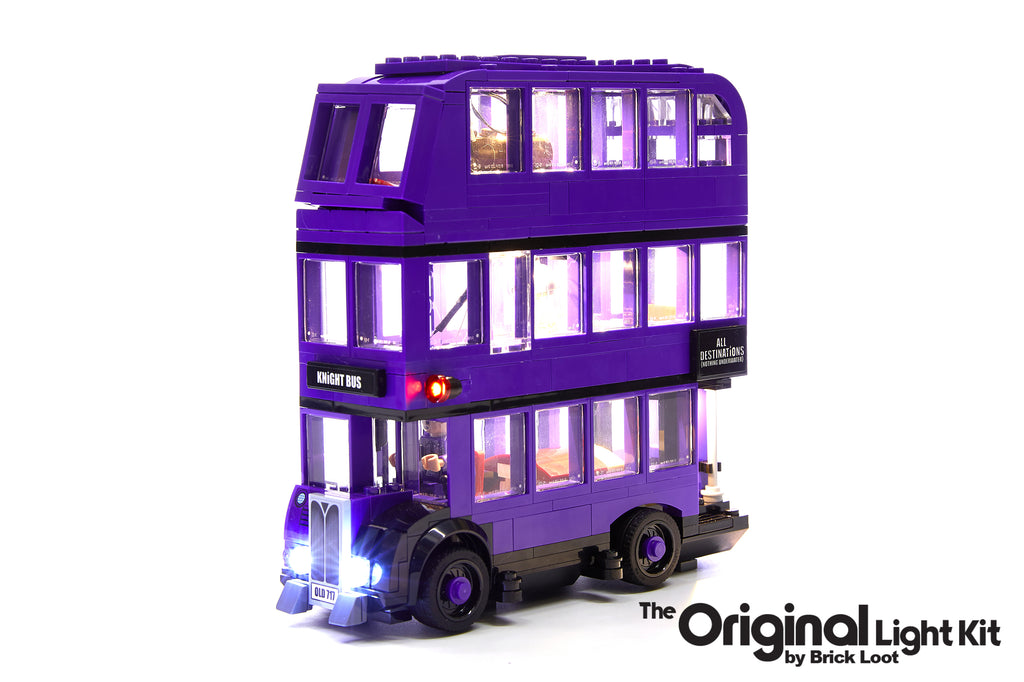 LEGO Harry Potter The Knight Bus set 75957 with the Brick Loot LED Light Kit.