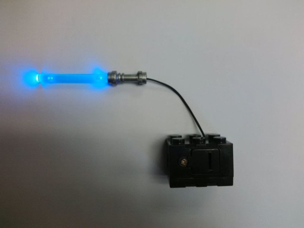 Brick Loot LED Blue Lightsaber Light Sword - fits LEGO Minifigures - powered by 2x3 battery brick (batteries included).