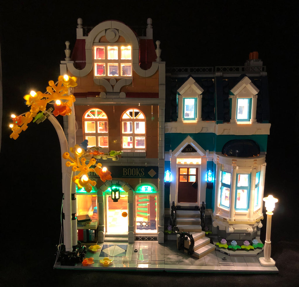 Brick Loot LED Lighting Kit for LEGO® Creator Expert Bookshop set 10270. The interior and exterior of this LEGO set is beautifully illuminated!