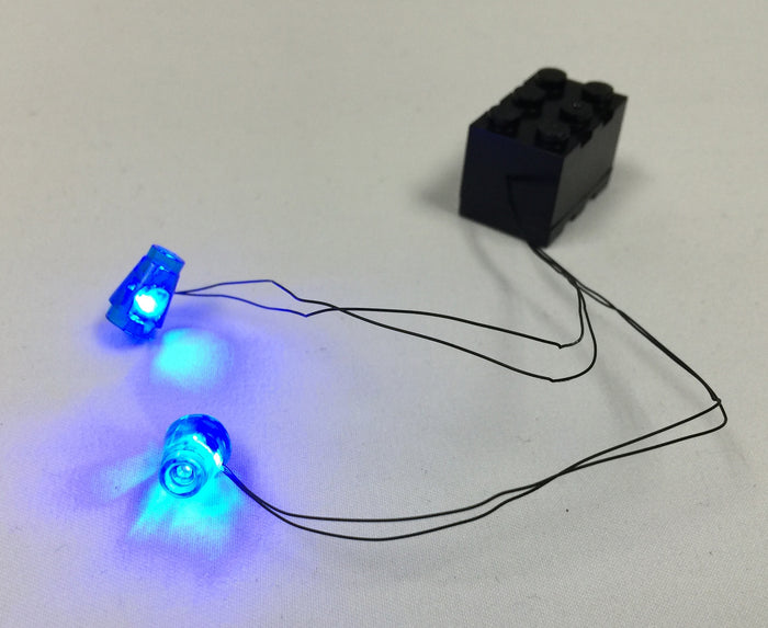 LED Double Flashing Cone Blue Lights for LEGO with 2x3 Battery Brick