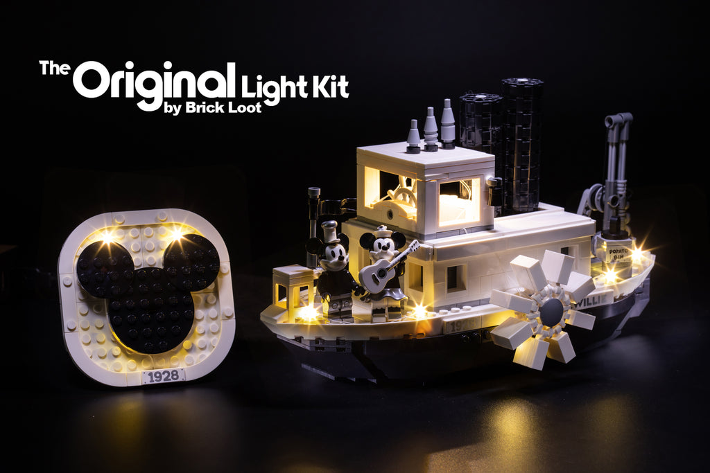 LEGO Disney Steamboat Willie set 21317 with Brick Loot LED Lights.