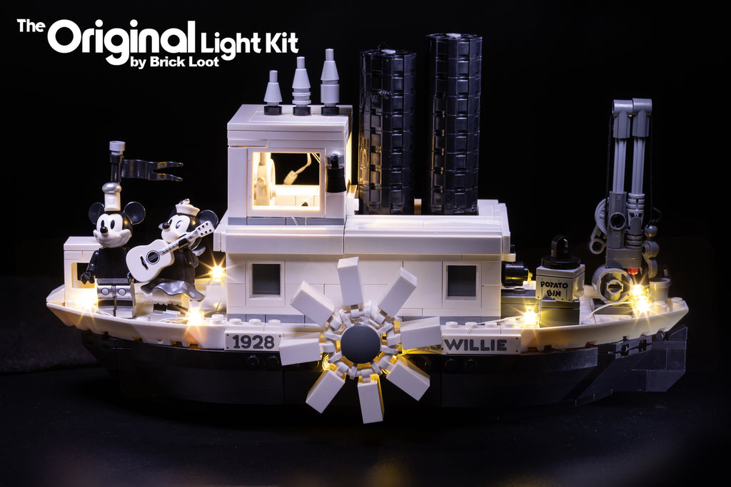 Side view of the LEGO Disney Steamboat Willie set 21317 with Brick Loot LED Lights.