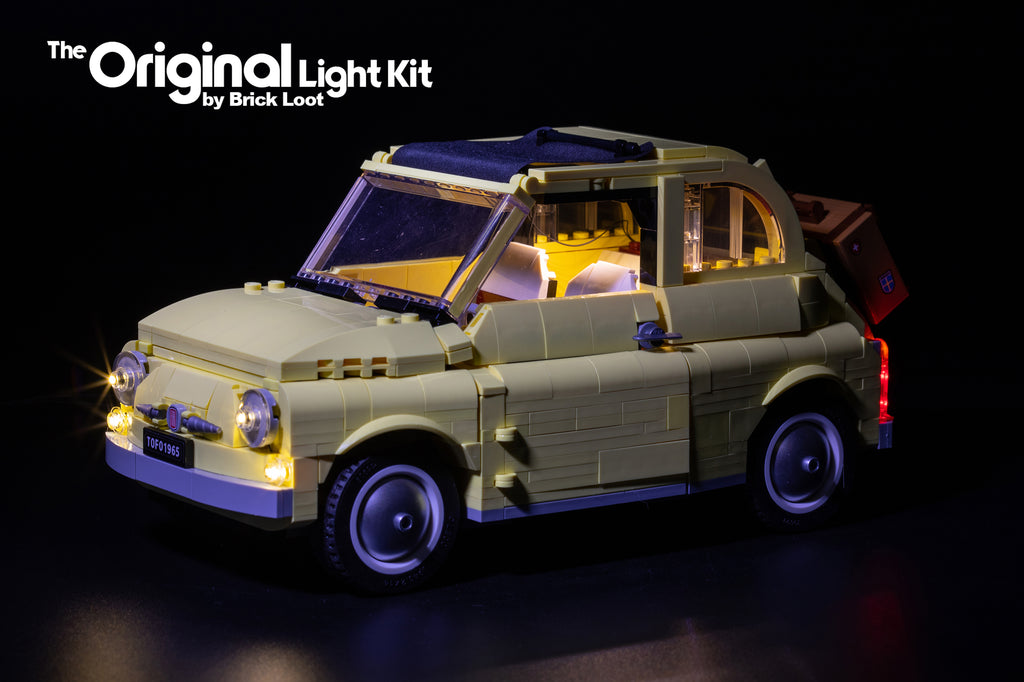 LEGO Fiat 500 set 10271 with the custom Brick Loot LED Light kit installed.
