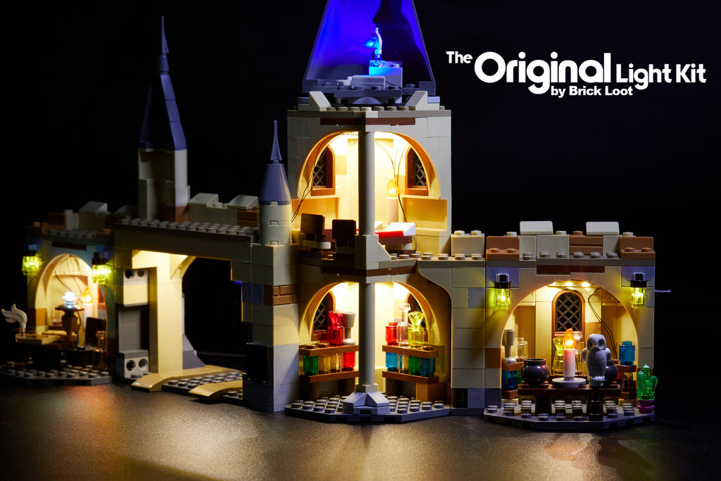 LEGO Harry Potter Hogwarts Whomping Willow set 75953 with the colorful Brick Loot LED Light Kit.