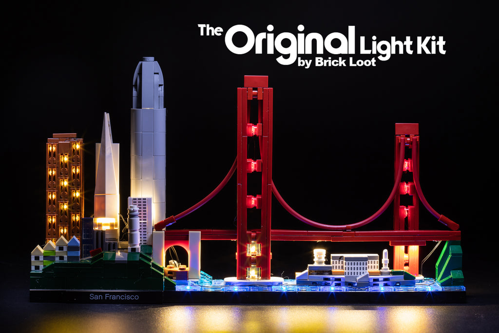 LEGO Architecture San Francisco Skyline set 21043, illuminated by the Brick Loot LED Light Kit.