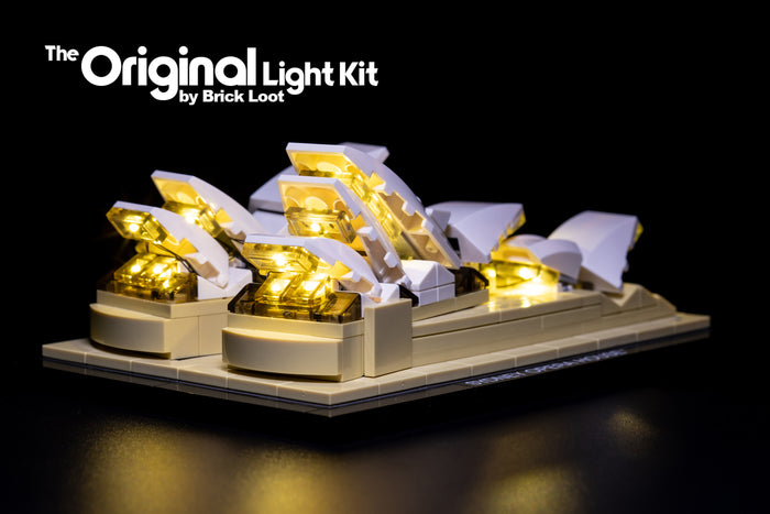 LEGO Architecture Sydney Opera House set 21012, illuminated with the Brick Loot LED Light Kit.