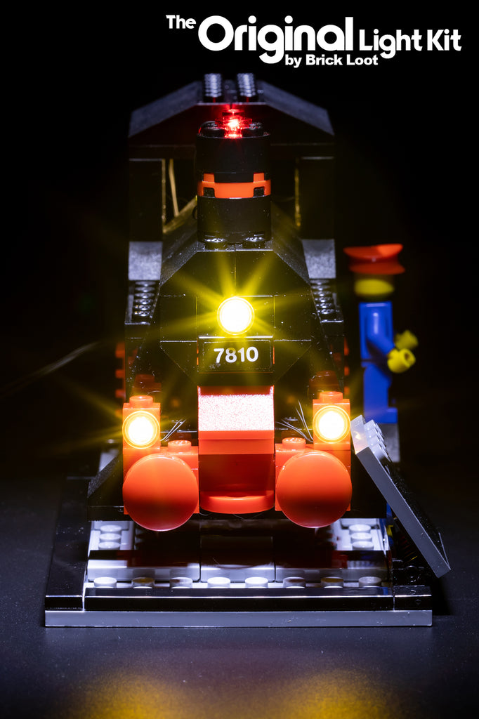 Front view of the LEGO Trains 40th Anniversary set 40370 with the Brick Loot LED Light Kit.