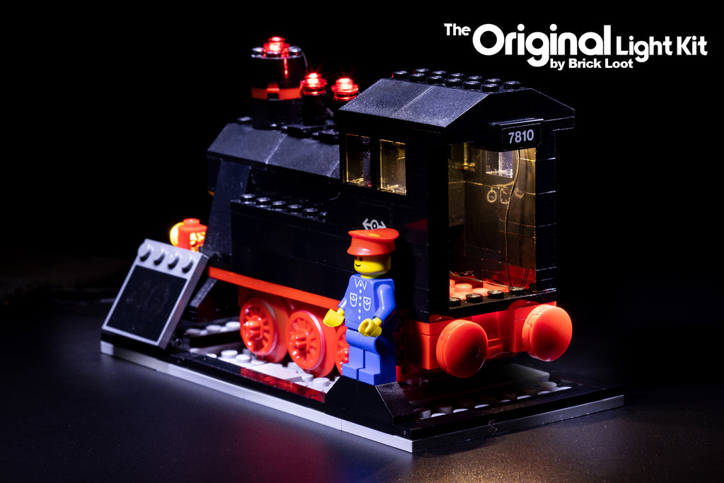 Back view of the LEGO Trains 40th Anniversary set 40370 with the Brick Loot LED Light Kit.