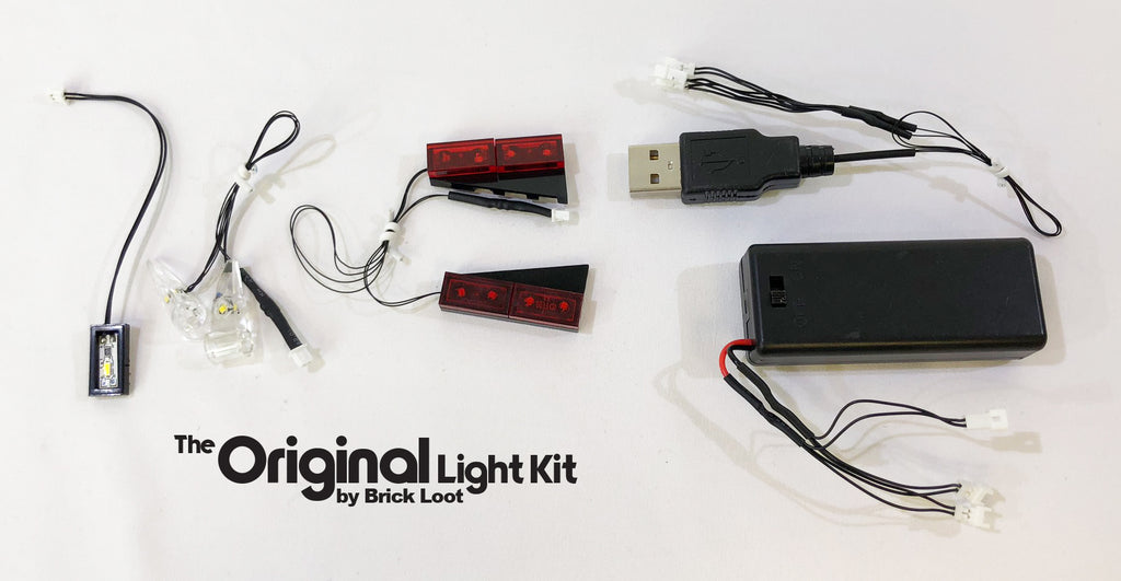 Brick Loot LED Light Kit strings, USB plug and battery pack, custom-designed for the LEGO Technic Chevrolet Corvette ZR1 set 42093. USB and battery pack are both included so you can choose the power supply!
