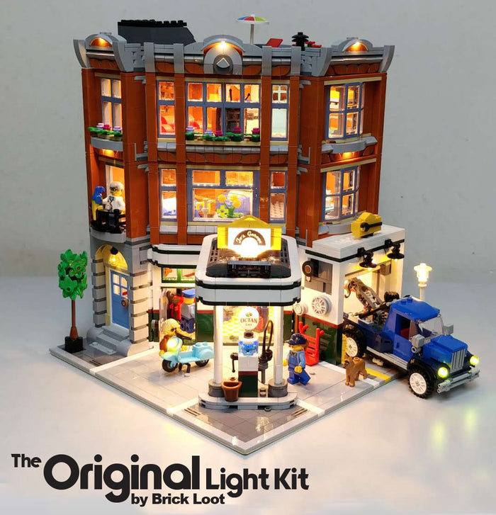 LEGO Corner Garage set 10264, fully illuminated with the Brick Loot custom light kit with 116 LEDs to light up the inside, the exerior, and the tow truck!