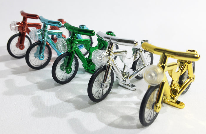 Brick Loot Minifigure Bicycles Chrome Bikes for LEGO® and other major brick brands. Available in red, blue / azure, green, silver, yellow / gold.