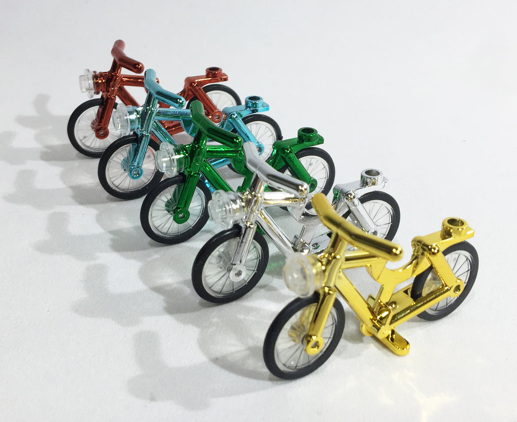 Brick Loot Minifigure Bicycles - Set of 5 Compatible Chrome Bikes for Lego and others