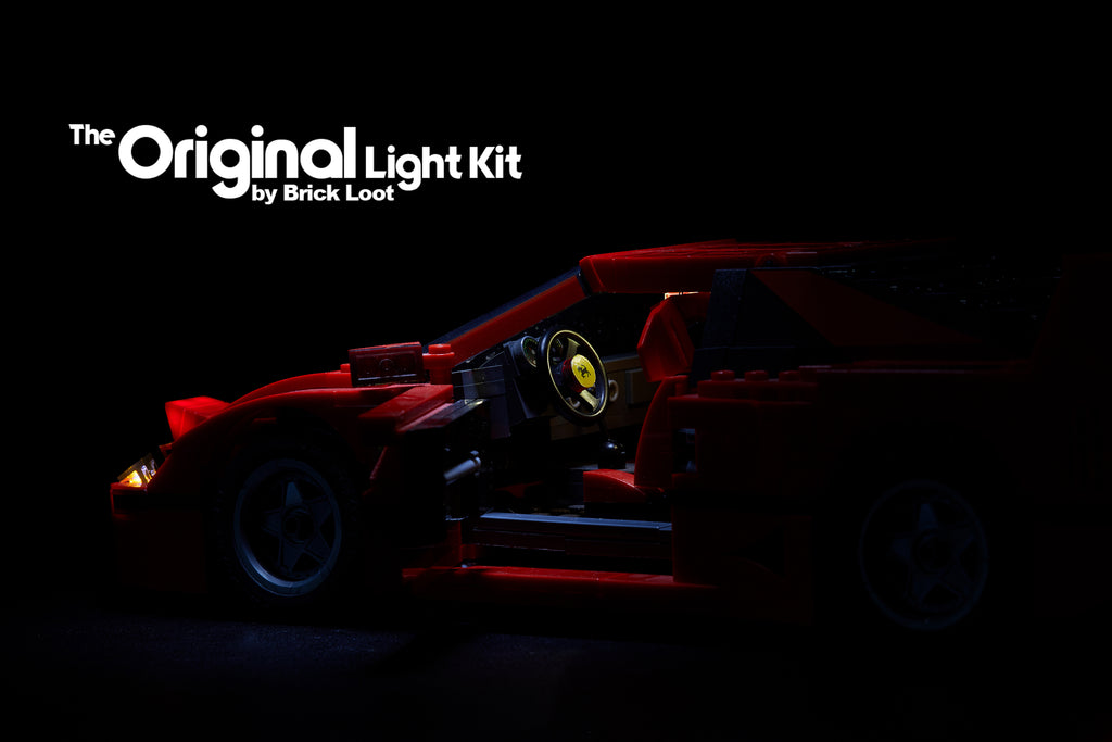 Brick Loot custom LED lighting kit for the LEGO Ferrari F40 set 10248. This close-up images shows the head lights and interior lights