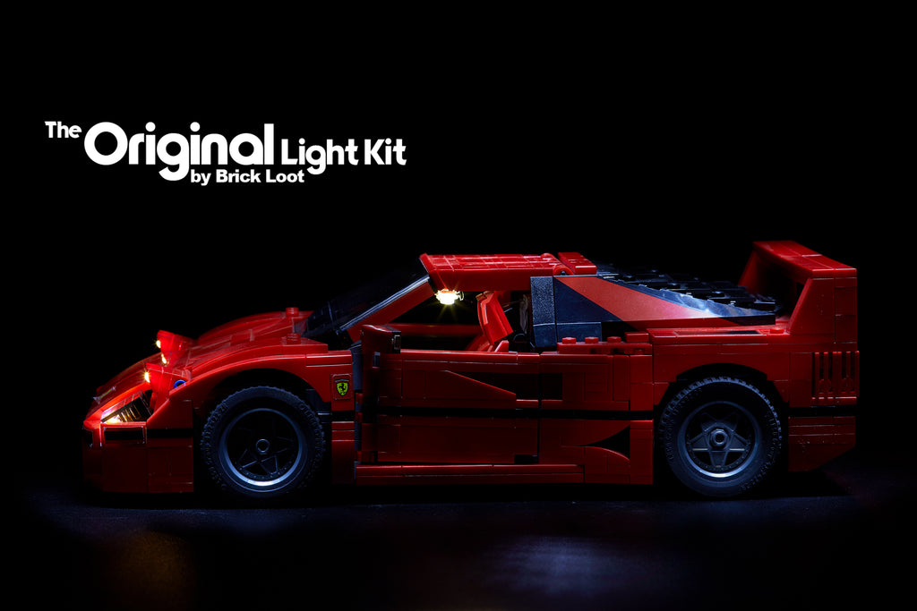 Brick Loot custom LED lighting kit for the LEGO Ferrari F40 set 10248, side view. This light kit includes interior and exterior headlights and tail lights.