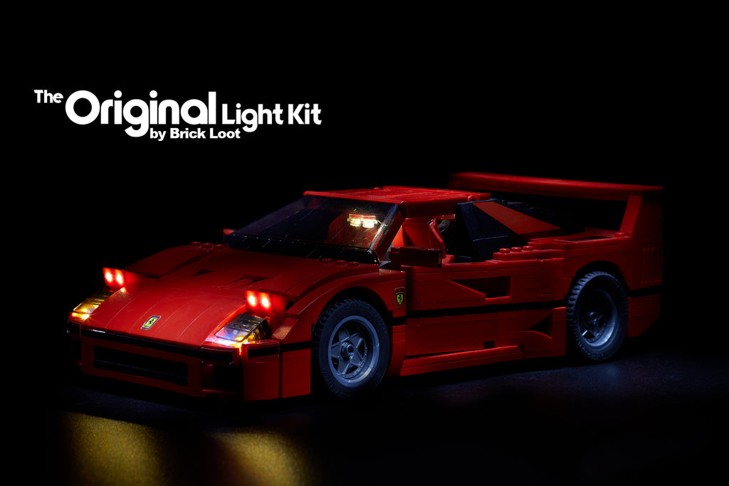 Brick Loot custom LED lighting kit for the LEGO Ferrari F40 set 10248.