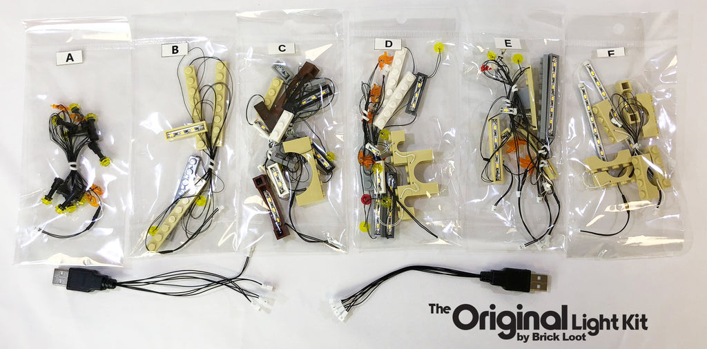 Brick Loot Light Kit LED strings and USB plugs, custom-designed for the LEGO Harry Potter Hogwarts Castle set 71043.