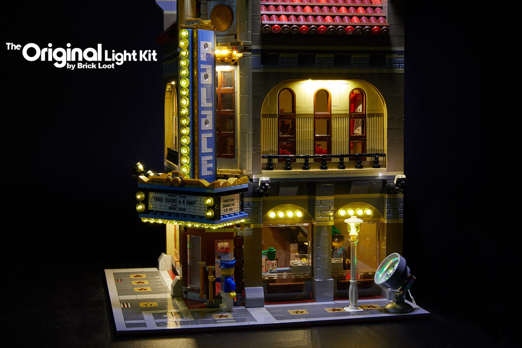 Close-up of the Brick Loot Canopy Light kit for the LEGO Palace Cinema set 10232. The main light kit includes a lamp post light and multi-color spot light.
