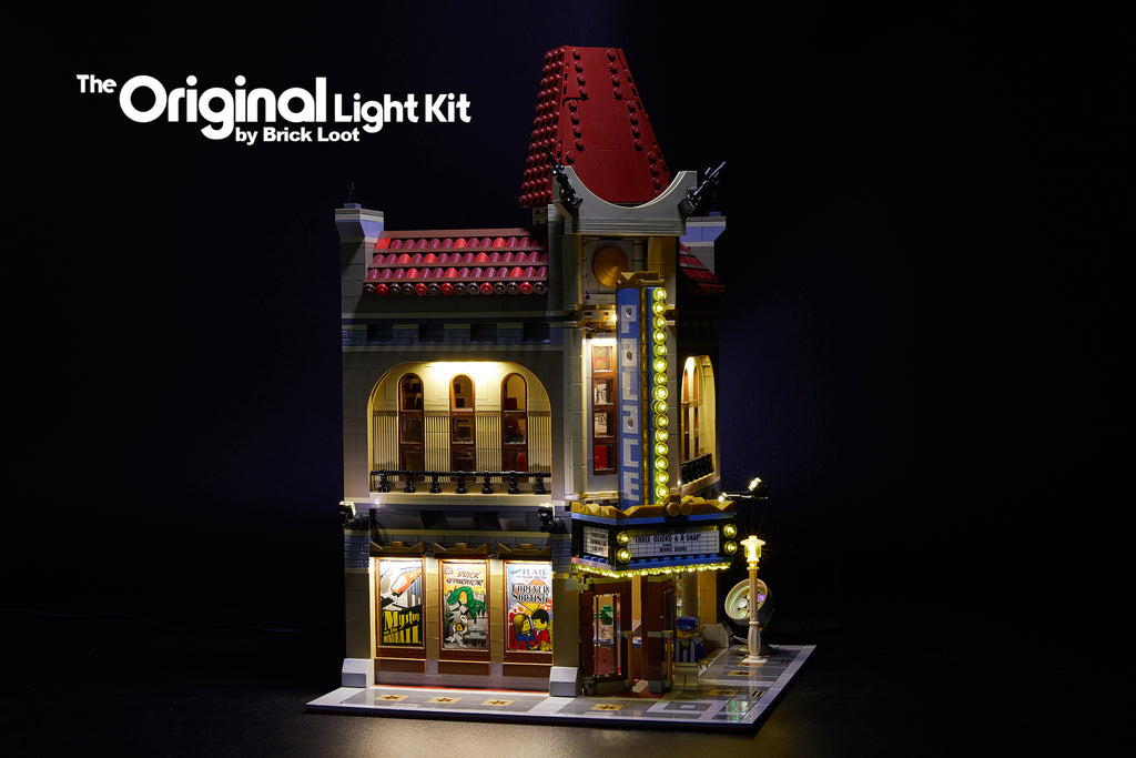 Brick Loot LED Lighting Kit installed on the LEGO Palace Cinema 10232 including the optional canopy lights. The main light kit includes a lamp post light and multi-color spot light.