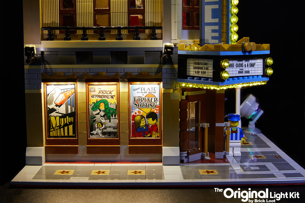 Brick Loot LED Lighting Kit installed on the LEGO Palace Cinema 10232 including the optional canopy lights.