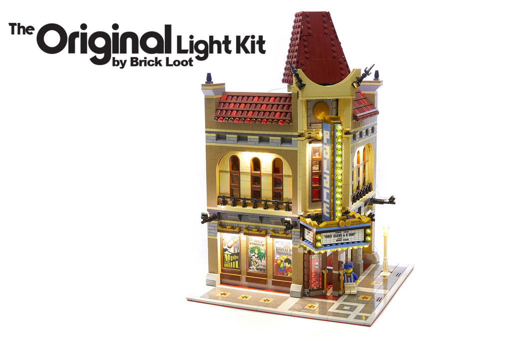 Brick Loot LED Lighting Kit installed on the LEGO Palace Cinema 10232 including the optional canopy lights. Brilliant at day and at night.