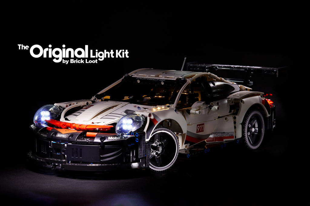 LEGO Porsche 911 RSR set 42096 with the custom-designed Brick Loot LED Light Kit installed.