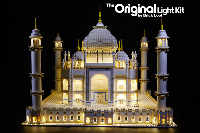 LEGO Taj Mahal set 10256, with the beautiful  lights of the Brick Loot LED kit installed.