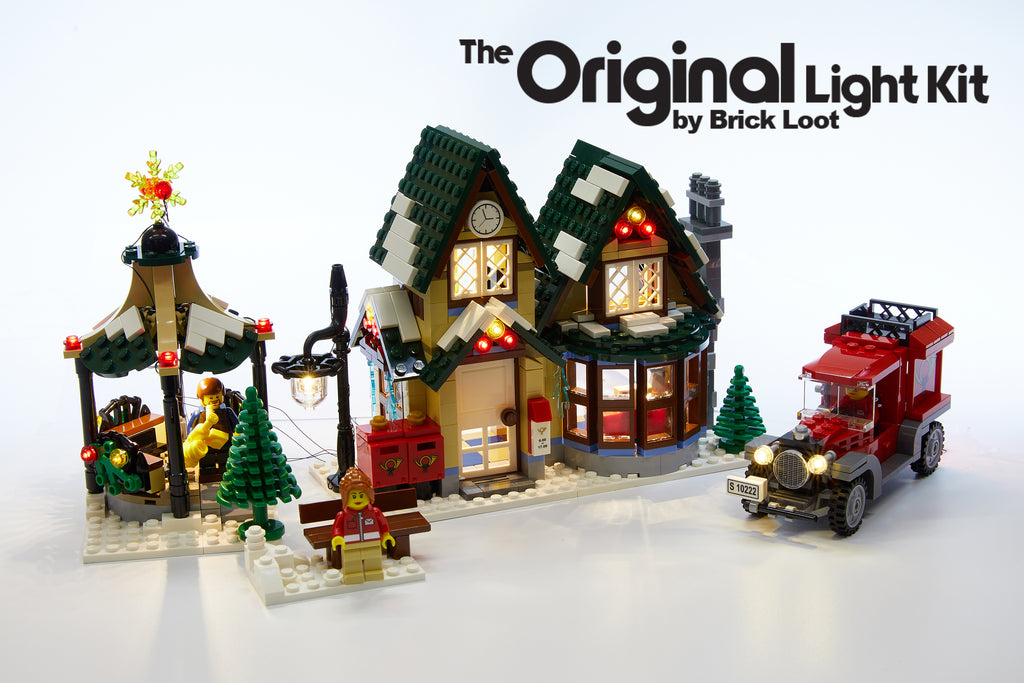 LEGO Winter Villiage Post Office set 10222 with the Brick Loot LED Kit installed - brilliant in daylight!