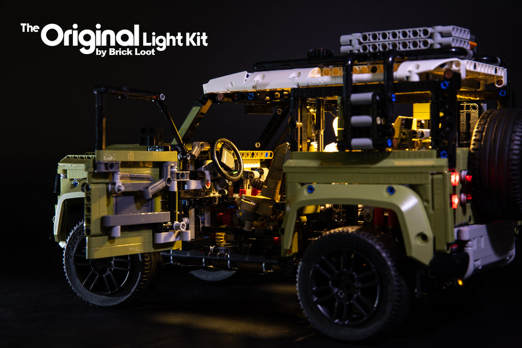 LEGO Land Rover Defender set 42110 with the Brick Loot LED Light kit installed.