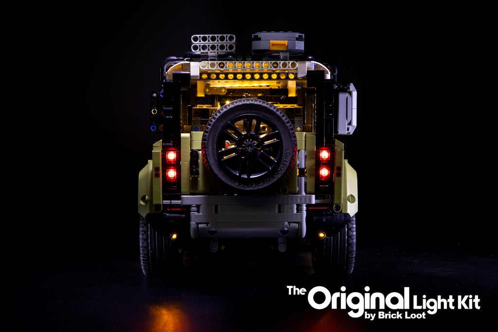 Rear view of the LEGO Land Rover Defender set 42110 with the Brick Loot LED Light kit installed.