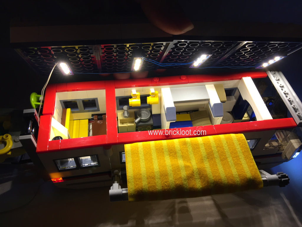 Inside of the LEGO Creator Vacation Getaways Set 31052 RV Camper with the Brick Loot Original LED Light Kit installed.