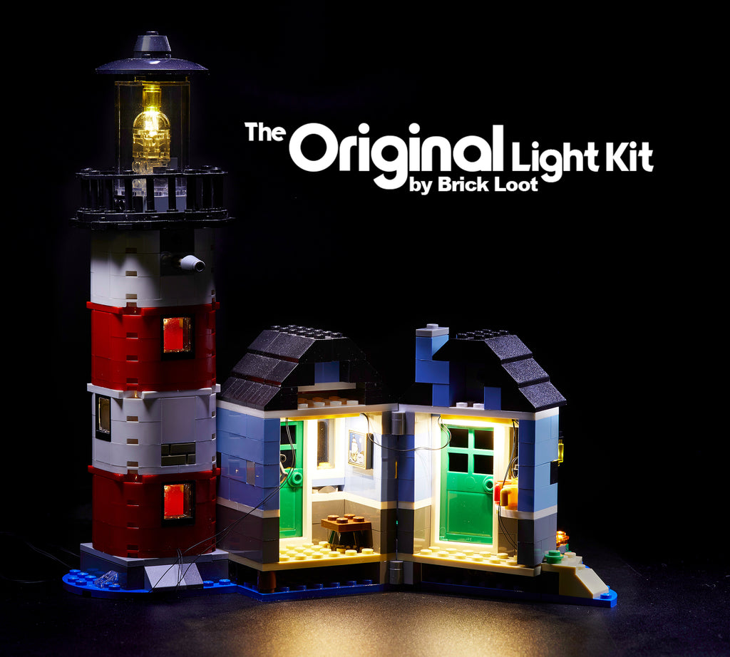 Inside of the LEGO Creator Lighthouse Point set 31051, fully illuminated with the Brick Loot LED Light Kit.