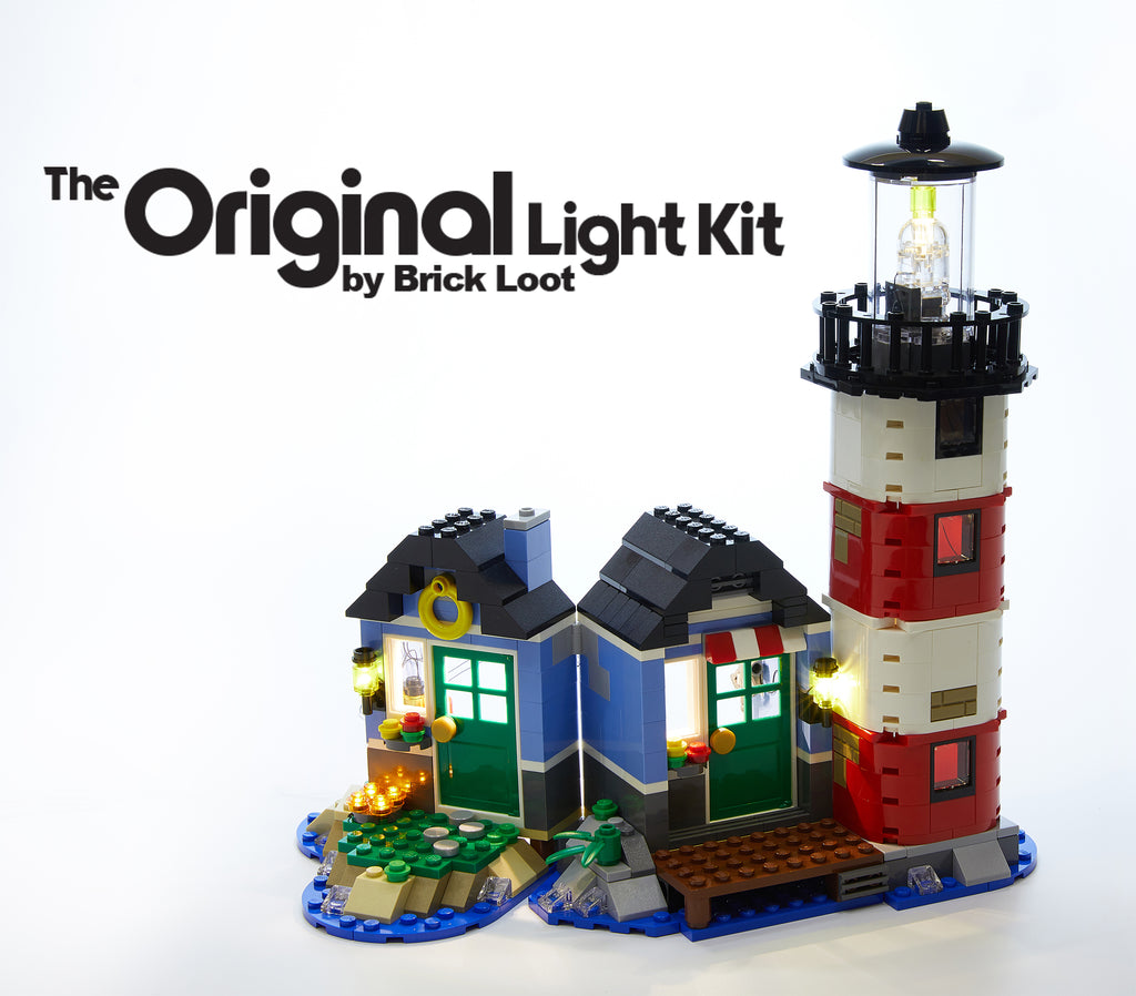 LEGO Creator Lighthouse Point set 31051, fully illuminated with the Brick Loot LED Light Kit.