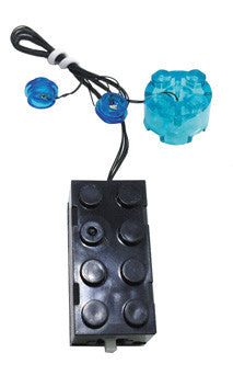 LED Double Flashing Blue Studs with LED Round Brick and 2x4 Battery Brick