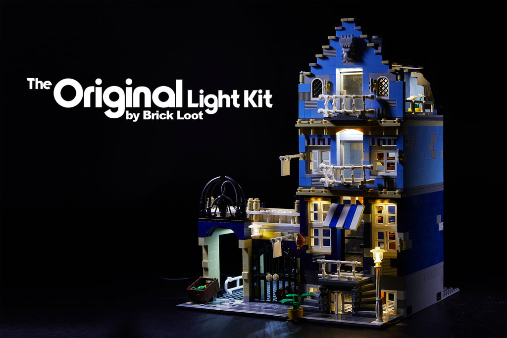 LEGO Market Street set 10190 illuminated with the Brick Loot Light kit with 71 LEDs!