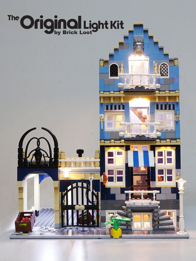LEGO Market Street set 10190 with the Brick Loot Light kit installed. Brilliant LEDs light up the interior and exterior of the Market Street Shops day and night!