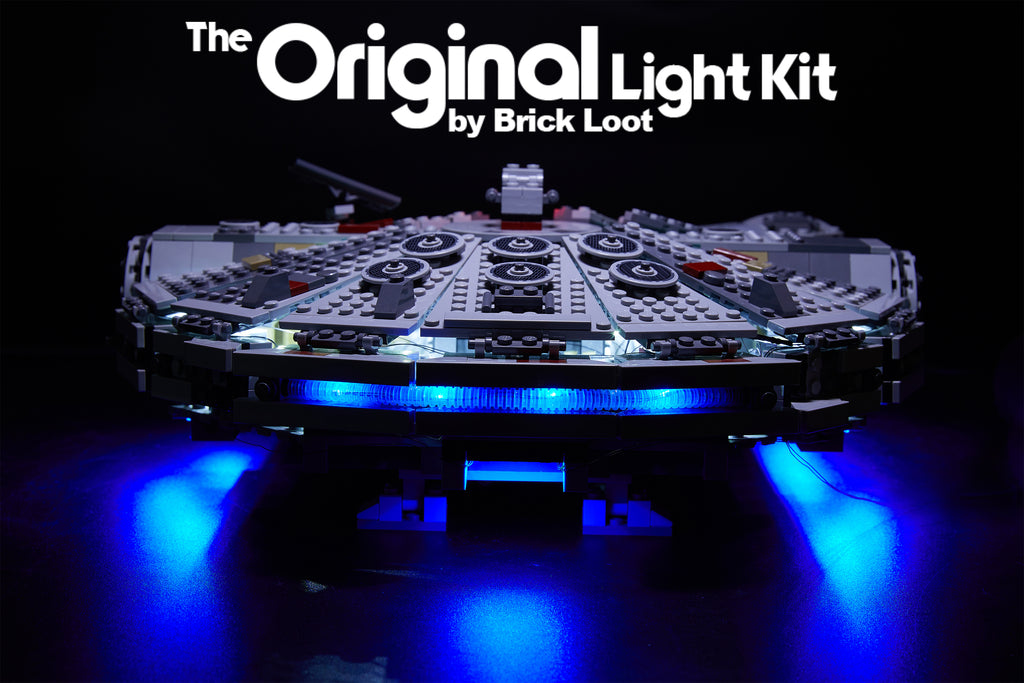 Side-view of the LEGO Millennium Falcon set 75105 with the Brick Loot LED Light Kit.