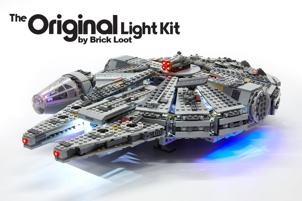 LEGO Millennium Falcon set 75105 with the Brick Loot LED Light Kit.