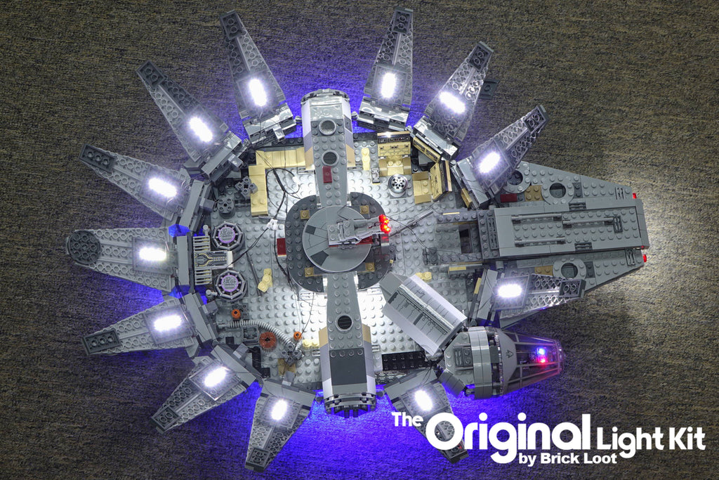 Bottom of the LEGO Millennium Falcon set 75105 with the Brick Loot LED Light Kit.