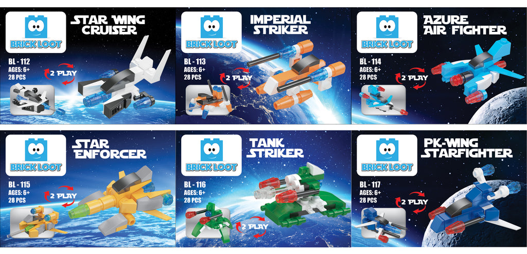 Brick-Loot-Exclusive-Mini-Space-2-in-1-set-COLLECTION-OF-ALL-6-100%-LEGO®-Compatible