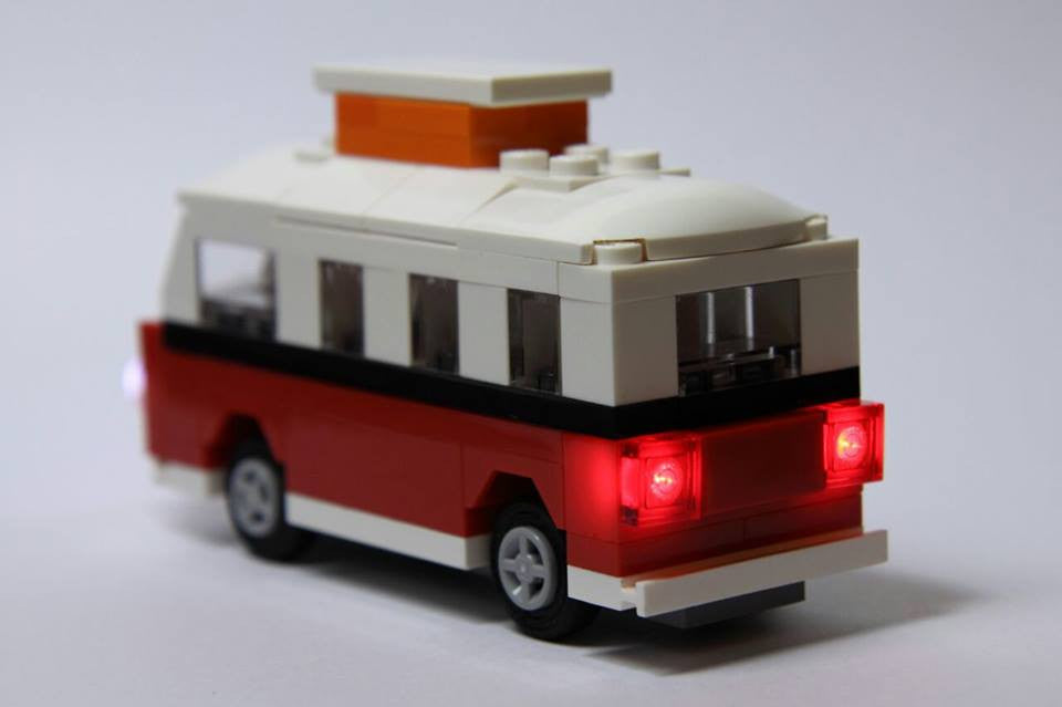 Rear view of the LEGO Mini VW Camper Van set 40079 Bag Set with Brick Loot custom LED Light Kit.