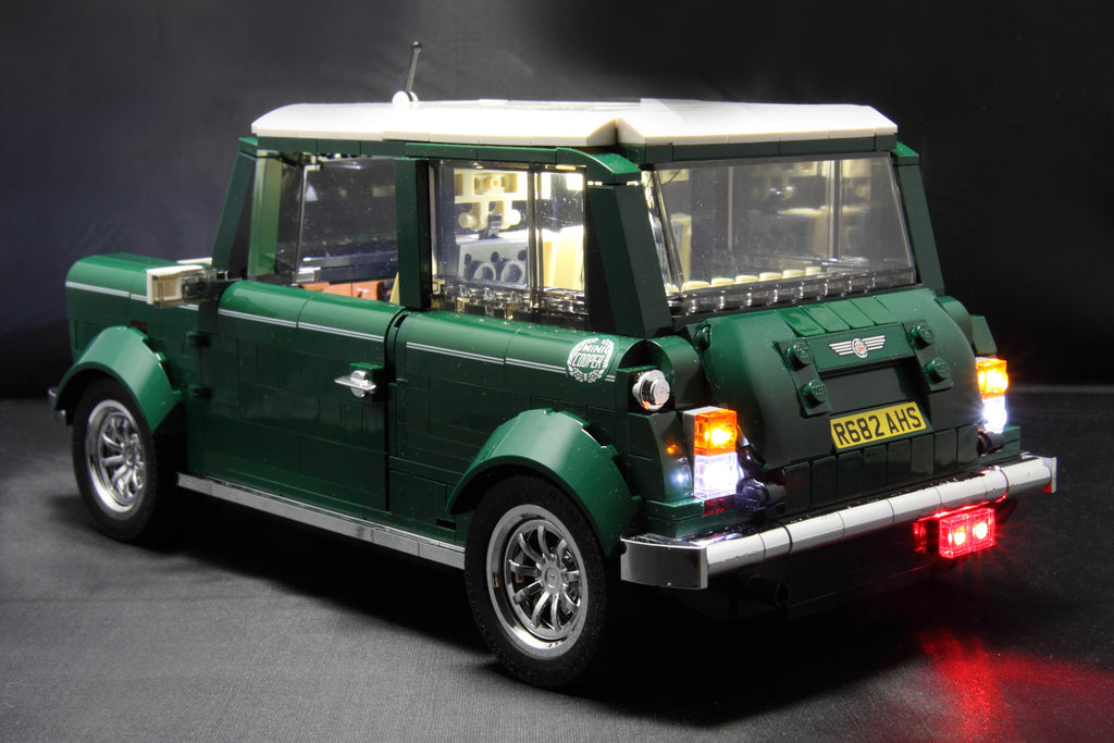 Brick Loot custom LED light kit for the LEGO Mini Cooper set 10242.