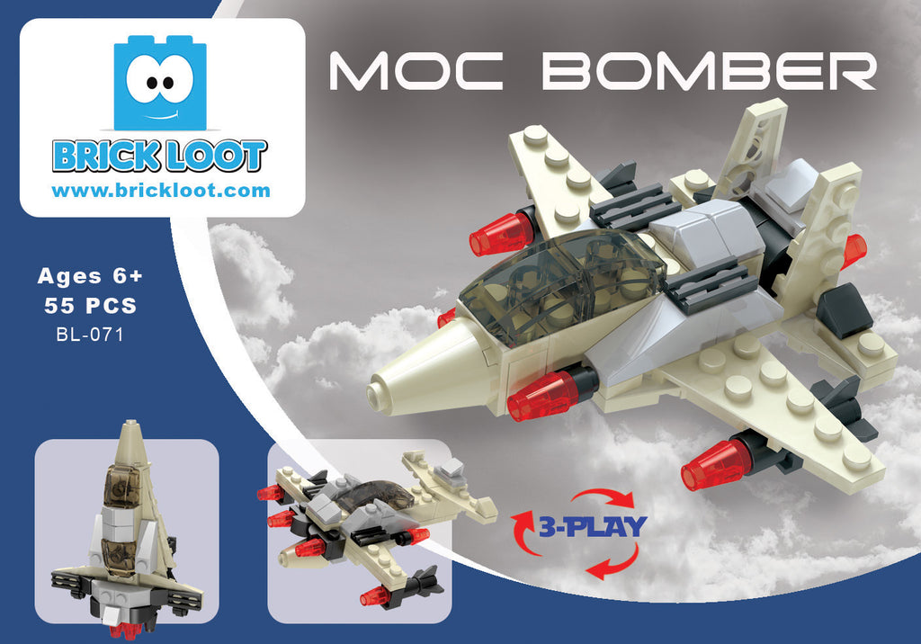 Brick-Loot-Exclusive-Moc-Bomber-Military-Plane-3-in-1-set-100%-LEGO®-Compatible