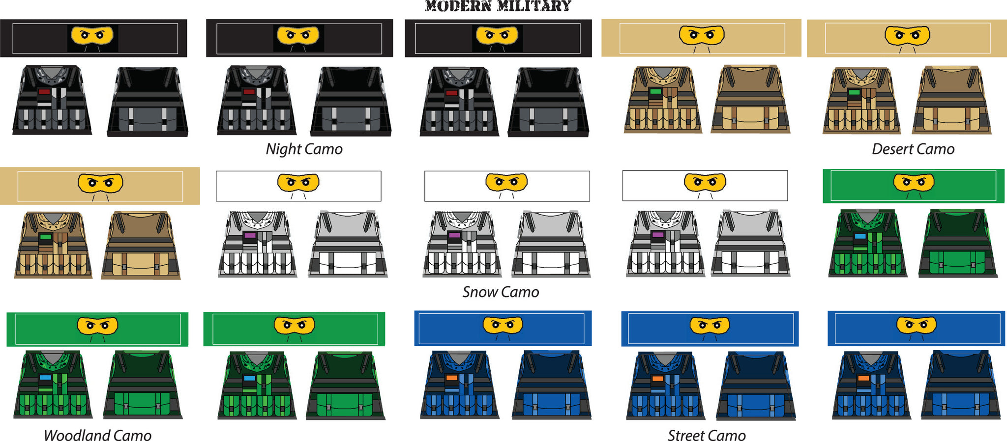 Brick Loot Exclusive Minifigure Sticker Decal Sheet - Modern Military Theme