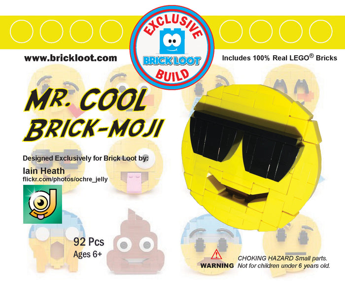 Exclusive Brick Loot Mr. Cool Brick-moji by Iain Heath - 100% LEGO