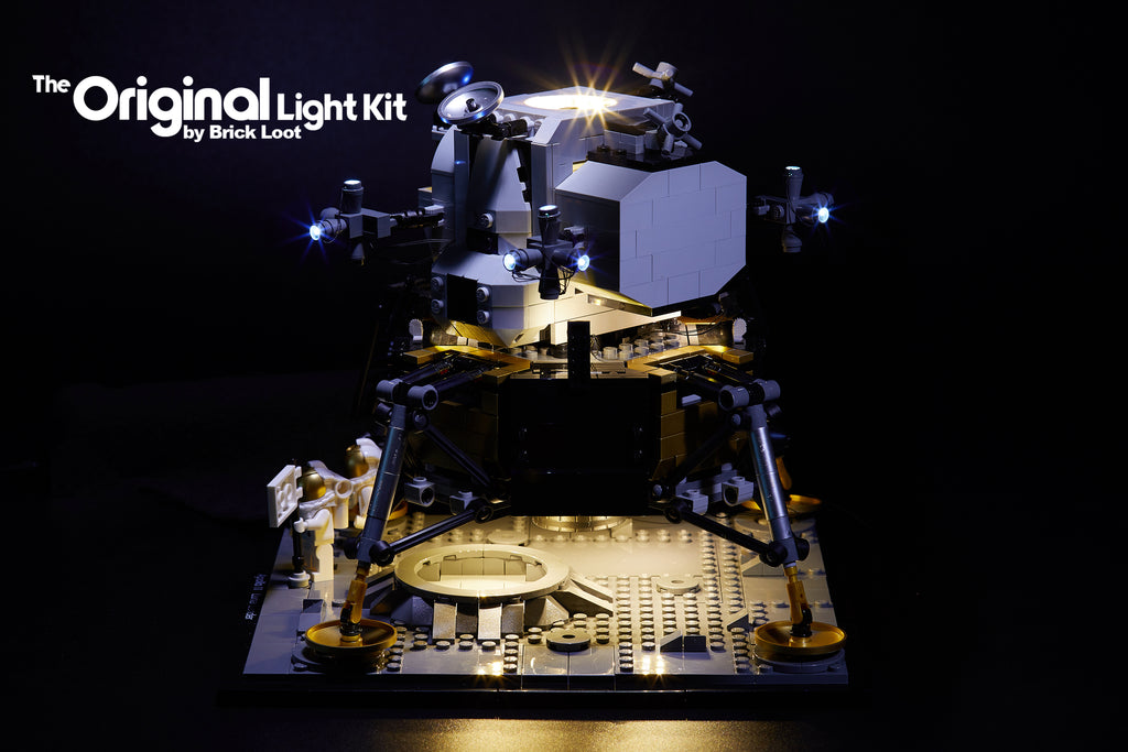 Side view of the LEGO NASA Apollo 11 Lundar Lander set 10266, illuminated with the Brick Loot custom light kit with 34 LEDs!