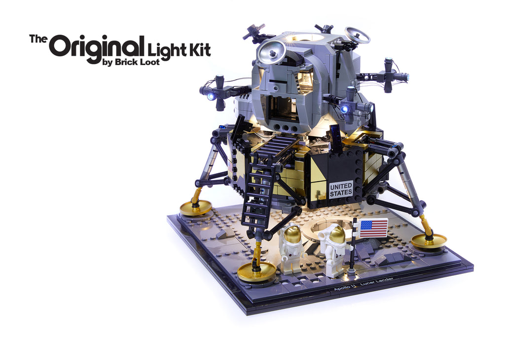 LEGO NASA Apollo 11 Lundar Lander set 10266, illuminated with the Brick Loot custom light kit with 34 LEDs! The lights are brilliant in the day and at night.