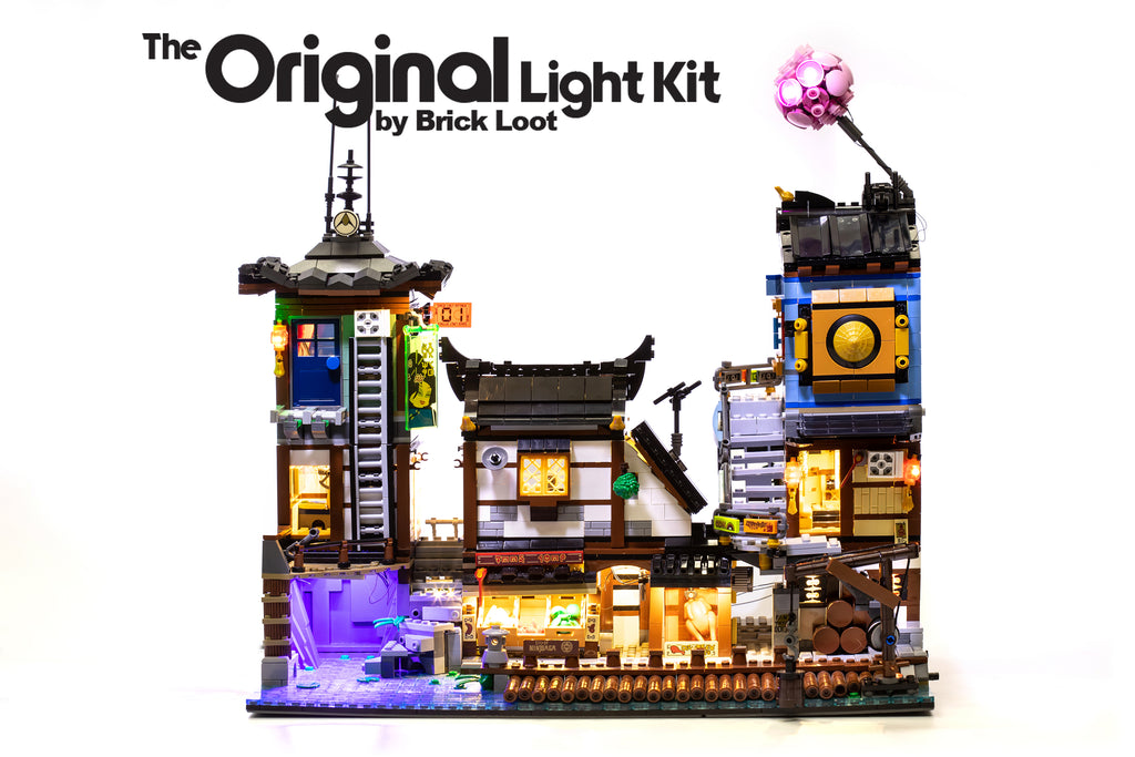 LEGO NINJAGO City Docks set 70657 with the Brick Loot custom LED Light Kit installed.