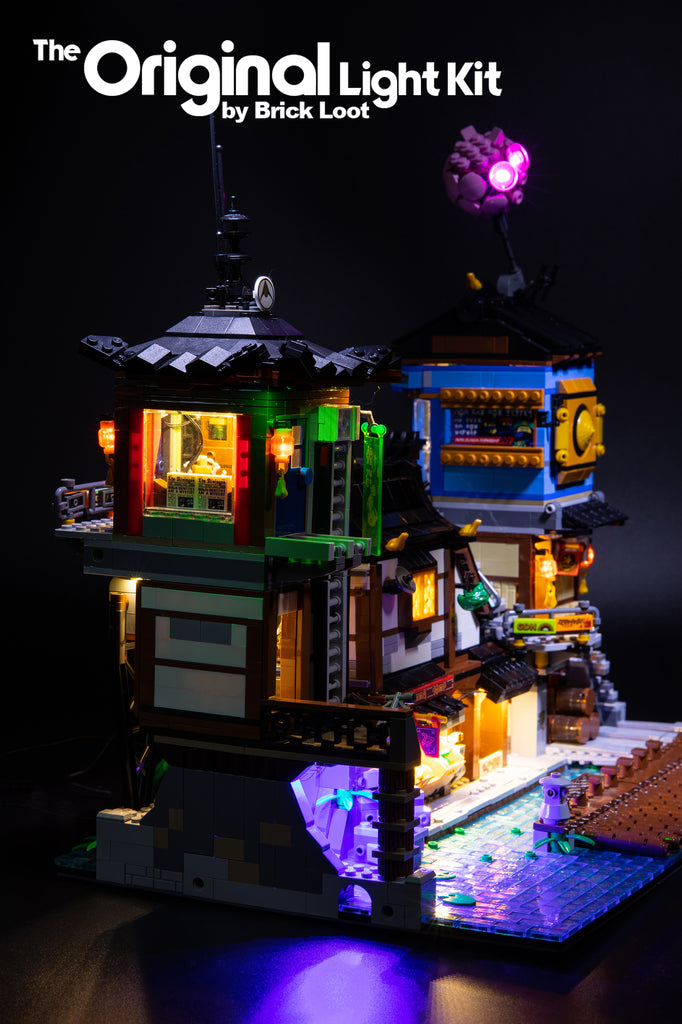 Side view of the LEGO NINJAGO City Docks set 70657 with the Brick Loot custom LED Light Kit installed.